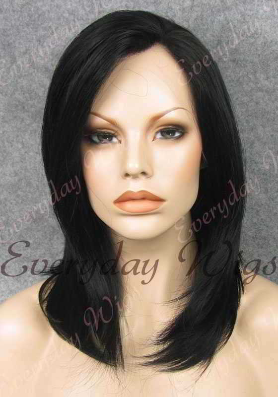 "16"" #1-Jet Balck Shoulder Length Straight Synthetic Lace Front Wig - edw001"