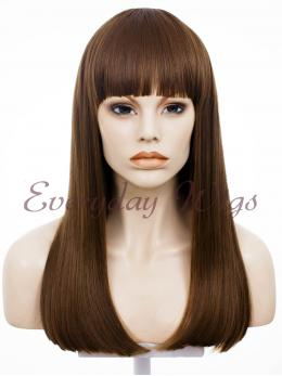 "24"" Wefted Cap Brown Synthetic Wig with bangs- edw002"