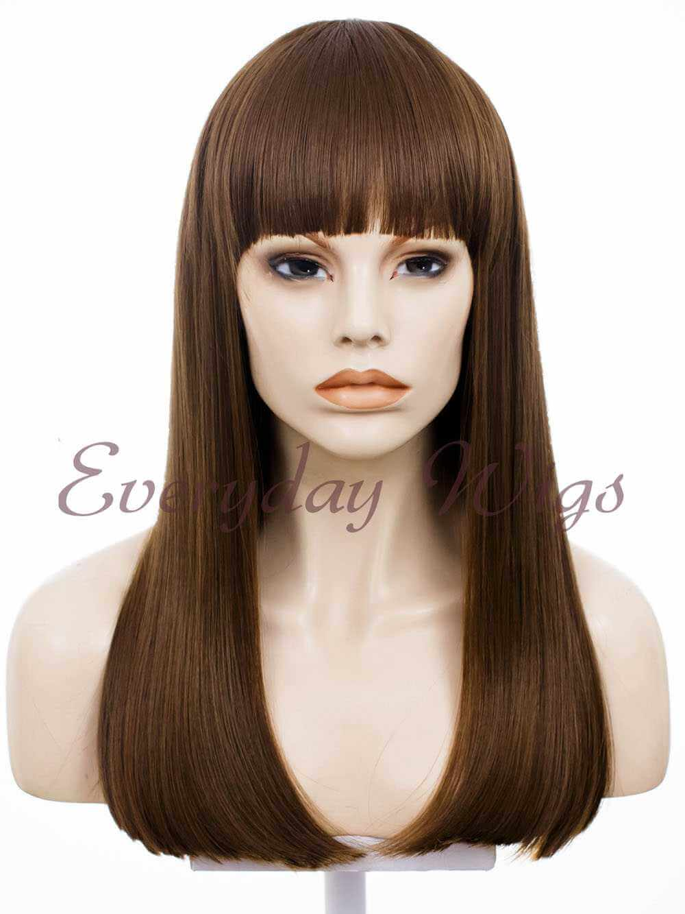 "16"" #1B-Off Balck Shoulder Length Straight Synthetic Lace Front Wig - edw002"