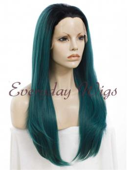 "24"" Ombre Green Straight Synthetic Wig - edw003"