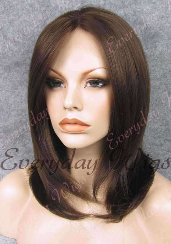 "16"" Medium Dark Brown Shoulder Length Straight Synthetic Wig - edw004"