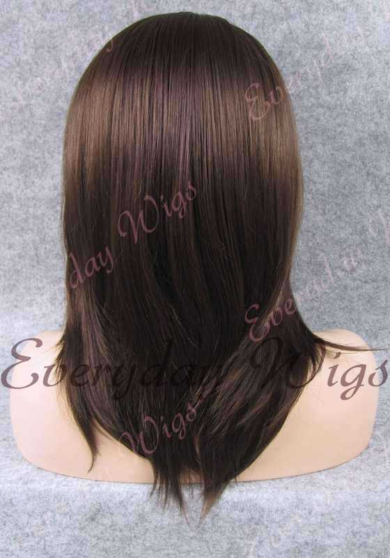 "16"" #3-Medium Dark Brown Shoulder Length Straight Synthetic Lace Front Wig - edw004"