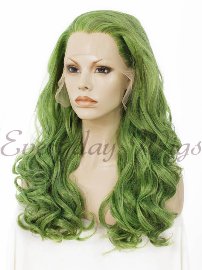 "24"" Pastel Mint Long Straight Synthetic Lace Front Wig- edw005"