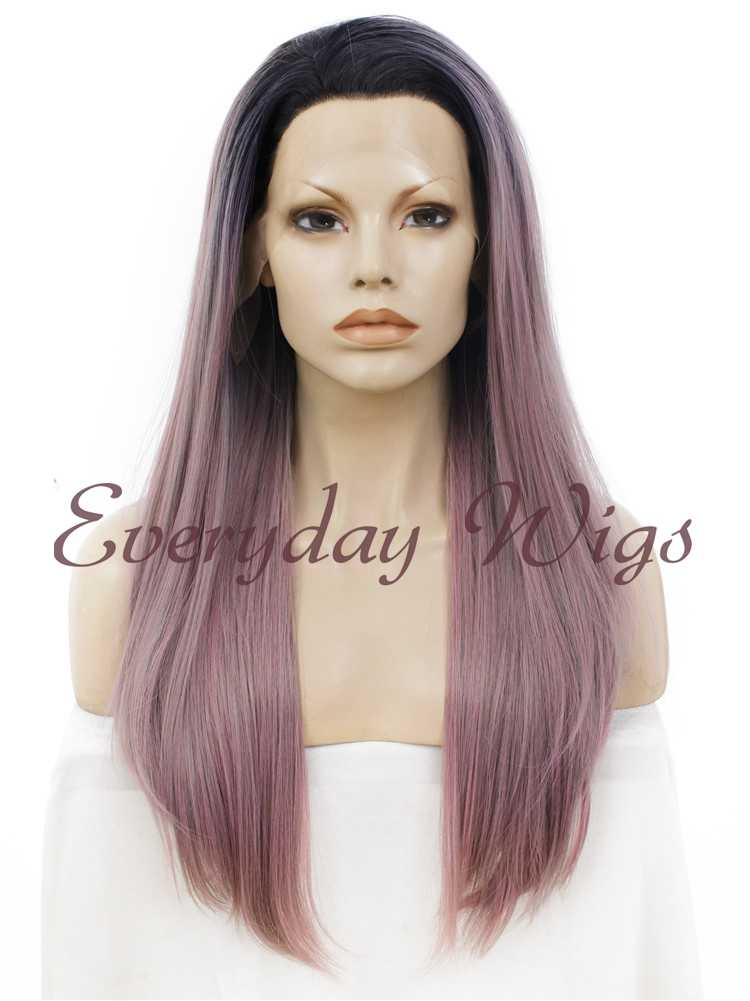 "24"" Black White Ombre Long Straight Synthetic Lace Front Wig- edw006"