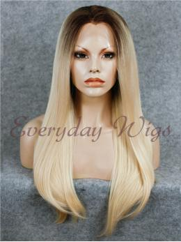 "24"" Brown Blonde Ombre Long Straight Synthetic Lace Front Wig- edw007"