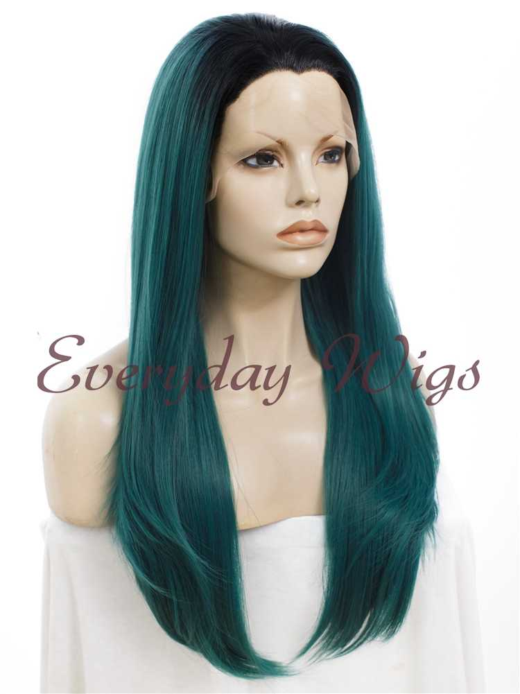 "24"" Ombre green Straight Synthetic Lace Front Wig- edw008"