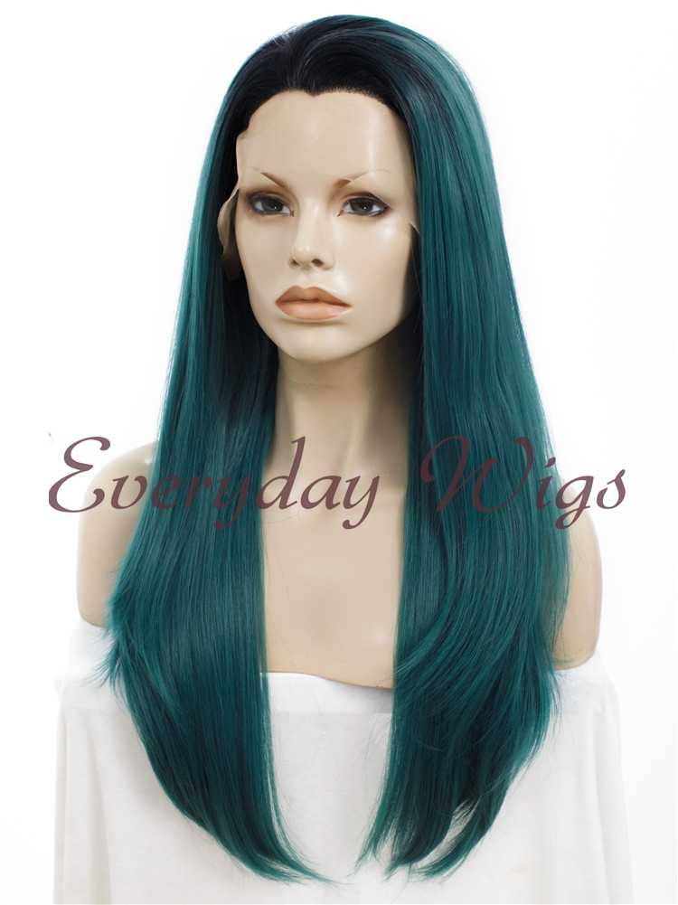 "24"" Purple Lavender Ombre Long Straight Synthetic Lace Front Wig- edw008"