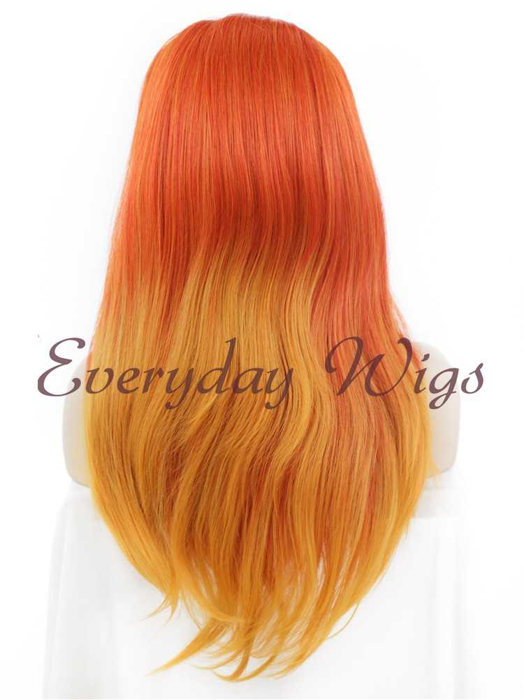 "24"" Ombre Orange Straight Synthetic Lace Front Wig- edw009"