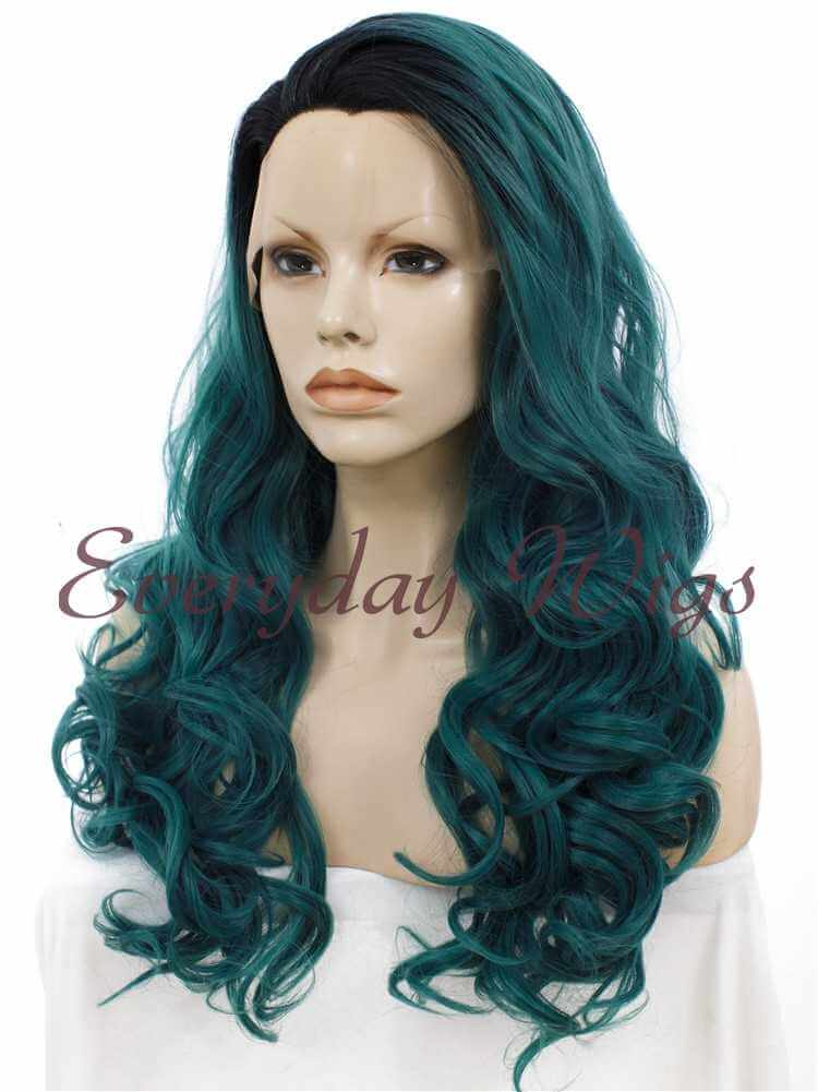 "24"" Ombre Dark Green Wavy Synthetic Lace Front Wig - edw010"