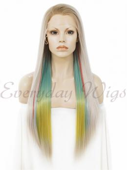 "26"" Ombre Colorful Synthetic Lace Front Wig - edw011"