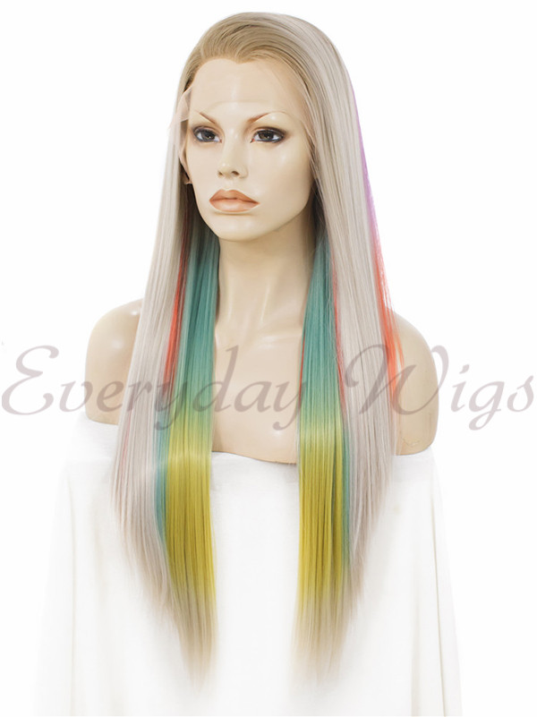 "14"" # Ombre Green Synthetic Lace Front Wig - edw011"