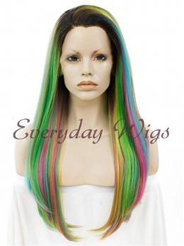 "24"" Rainbow Straight Synthetic Lace Front Wig- edw012"