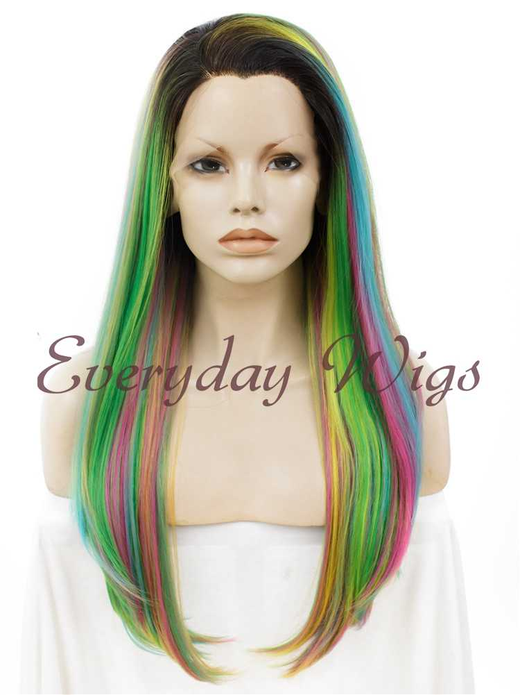 "24"" Purple Mint Ombre Long Straight Synthetic Lace Front Wig- edw012"