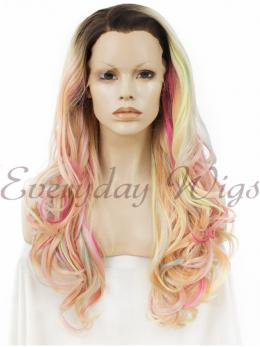 "24"" Multicolor Mixed Long wavy Synthetic Lace Front Wig- edw013"