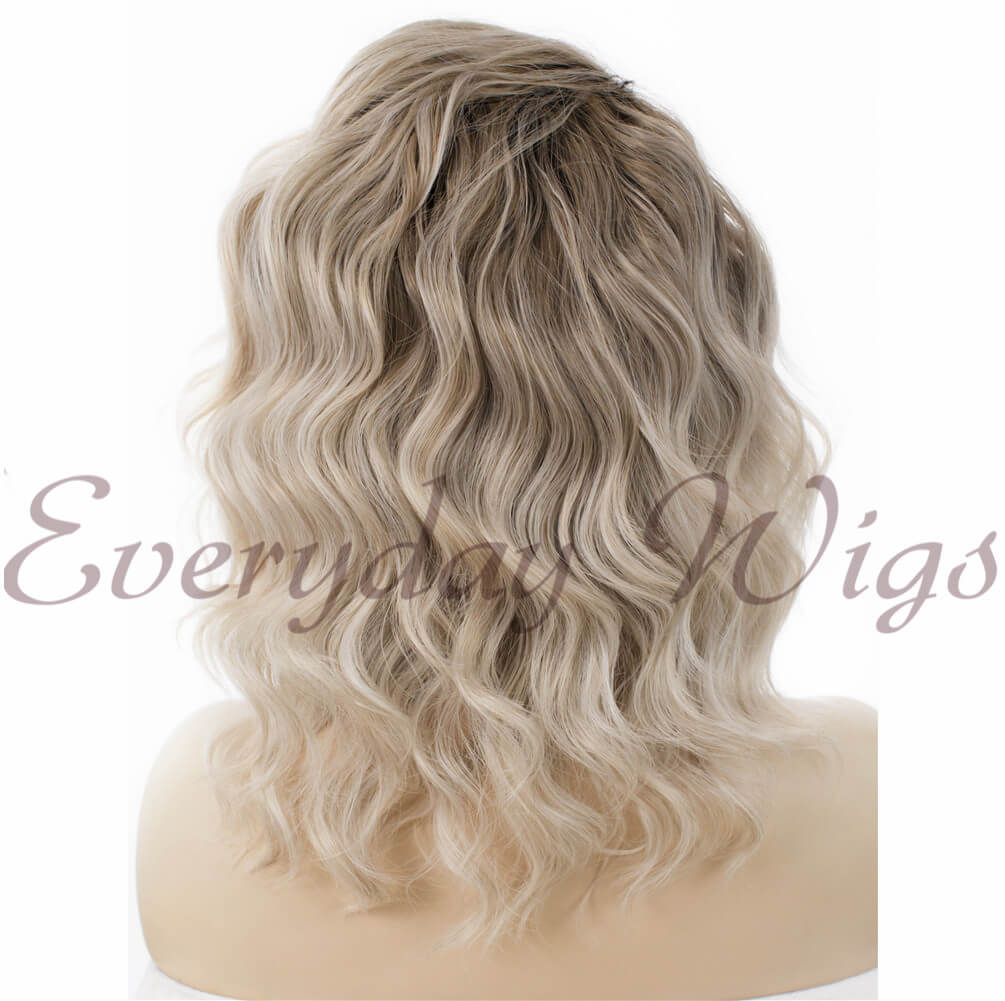 "24"" White Long Straight Synthetic Lace Front Wig - edw014"