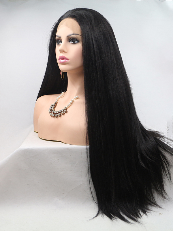 "24"" #1B-Off Black Long Straight Synthetic Lace Front Wig - edw015"
