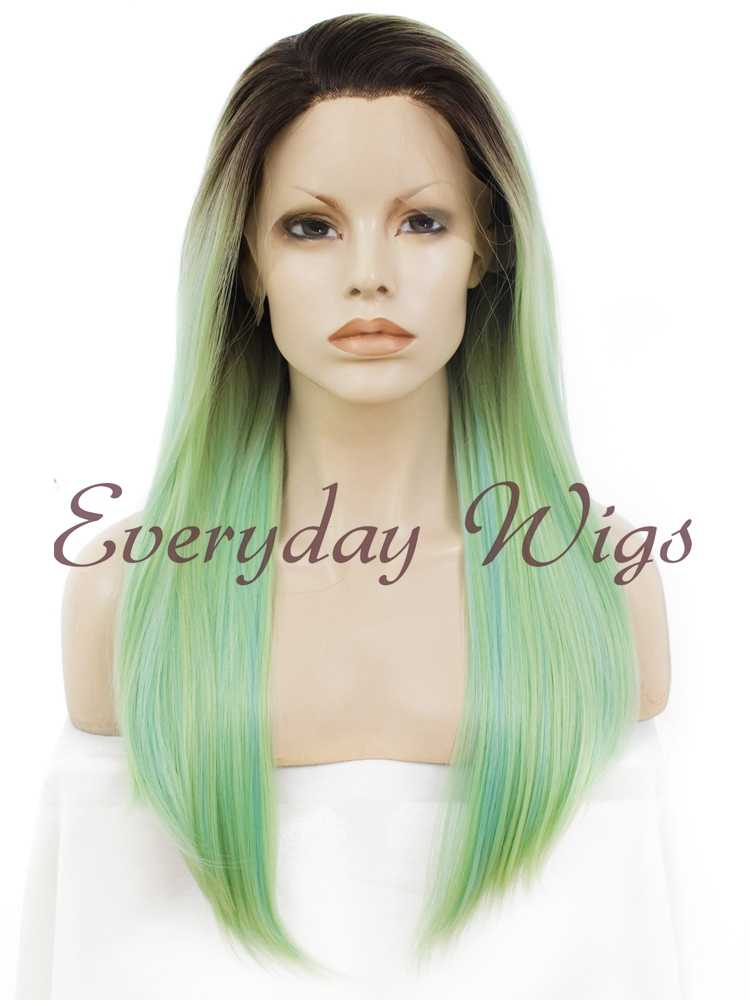 "24"" Ombre Green Synthetic Lace Front Wig- edw016"