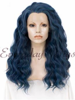 "24"" Blue Wavy Synthetic lace front Wigs -edw017"