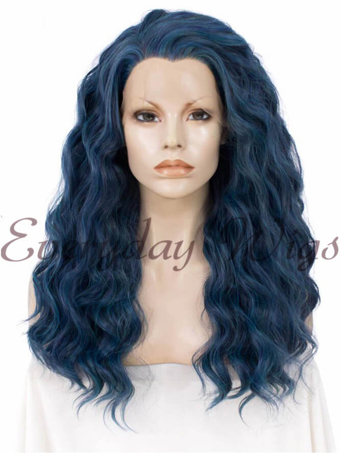 "24"" Blue Ombre Long Straight Synthetic Lace Front Wig - edw017"
