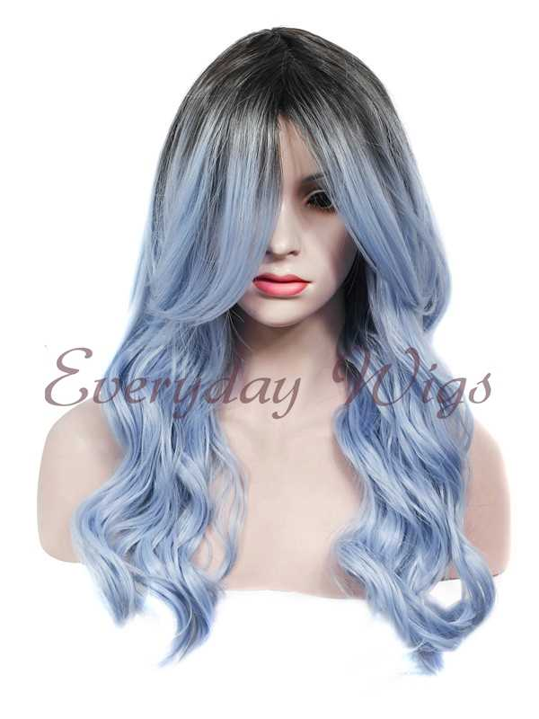 "24"" Ombre Blue Wefted Cap Synthetic Wig - edw018"