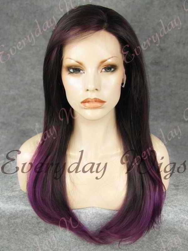 "24"" Purple Ombre Long Straight Synthetic Lace Front Wig - edw019"