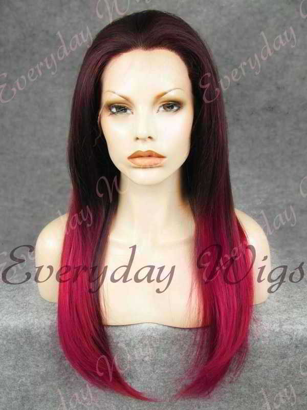 "24"" Burgundy Ombre Long Straight Synthetic Lace Front Wig - edw020"