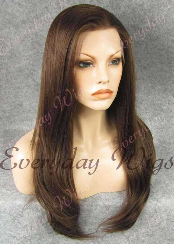 "24"" #3-Medium Dark Brown Long Straight Synthetic Lace Front Wig - edw021"