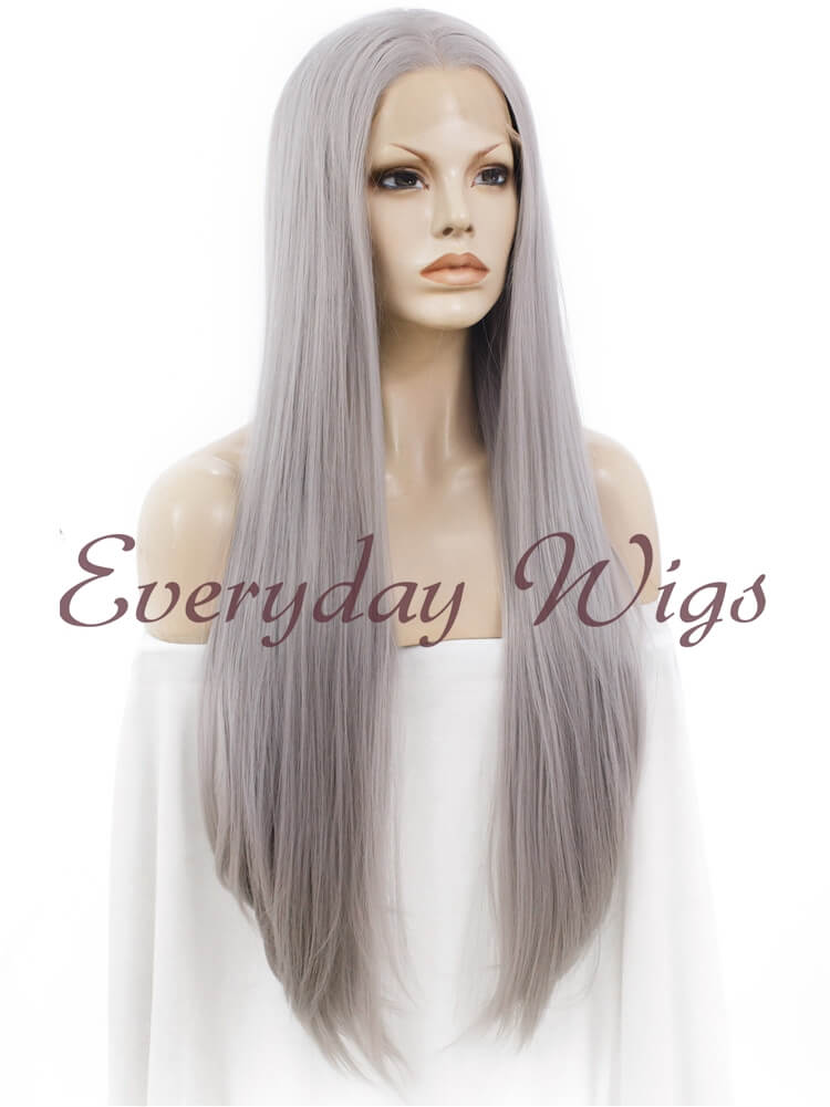"30"" Grey Long Straight Synthetic Lace Front Wig- edw023"