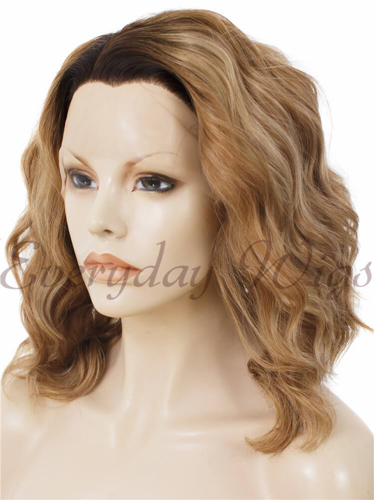 Ombre Brown Bob Wavy Synthetic Lace Front Wig edw025
