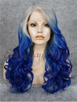 "24"" Grey to Blue Ombre Long wavy Synthetic Lace Front Wig- edw026"