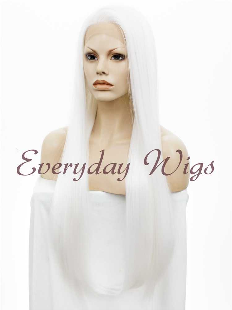 "30"" Super Long White Straight Synthetic Lace Front Wig- edw027"