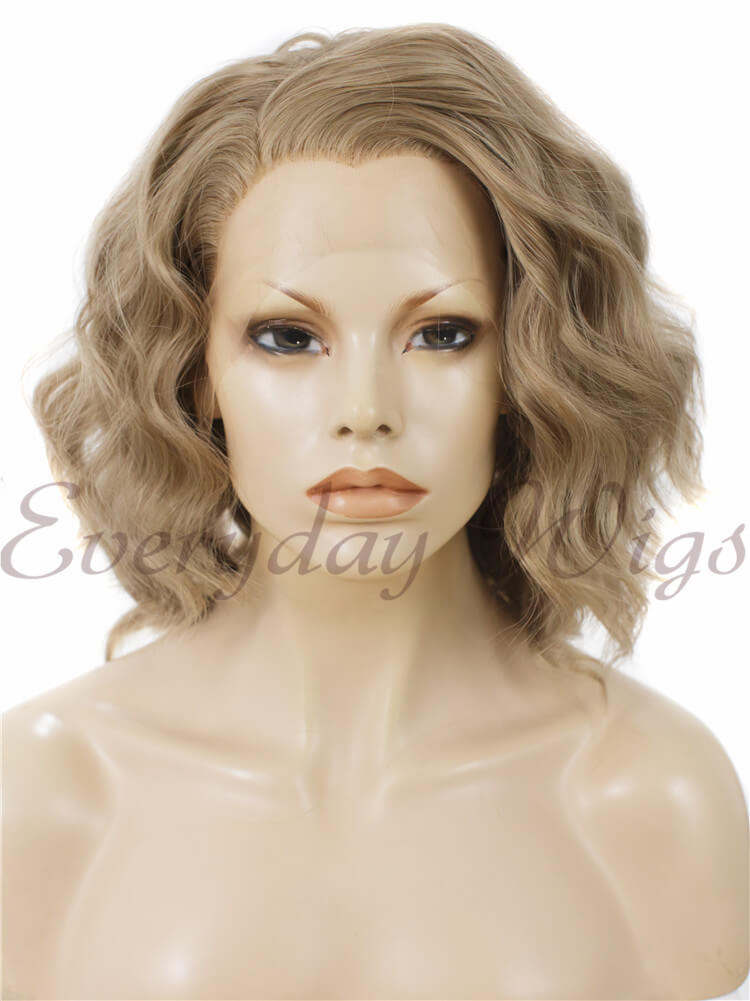 "24"" White Long Wavy Synthetic Lace Front Wig- edw029"