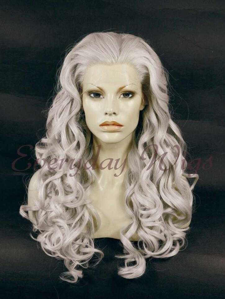 "24"" Grey Long Wavy Synthetic Lace Front Wig- edw030"