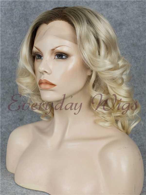 "14"" Ombre Blonde Wavy Synthetic Lace Wig- edw031"