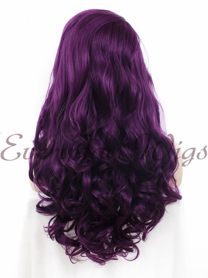 "24"" Long Purple Wavy Synthetic Lace Front Wig - edw033"