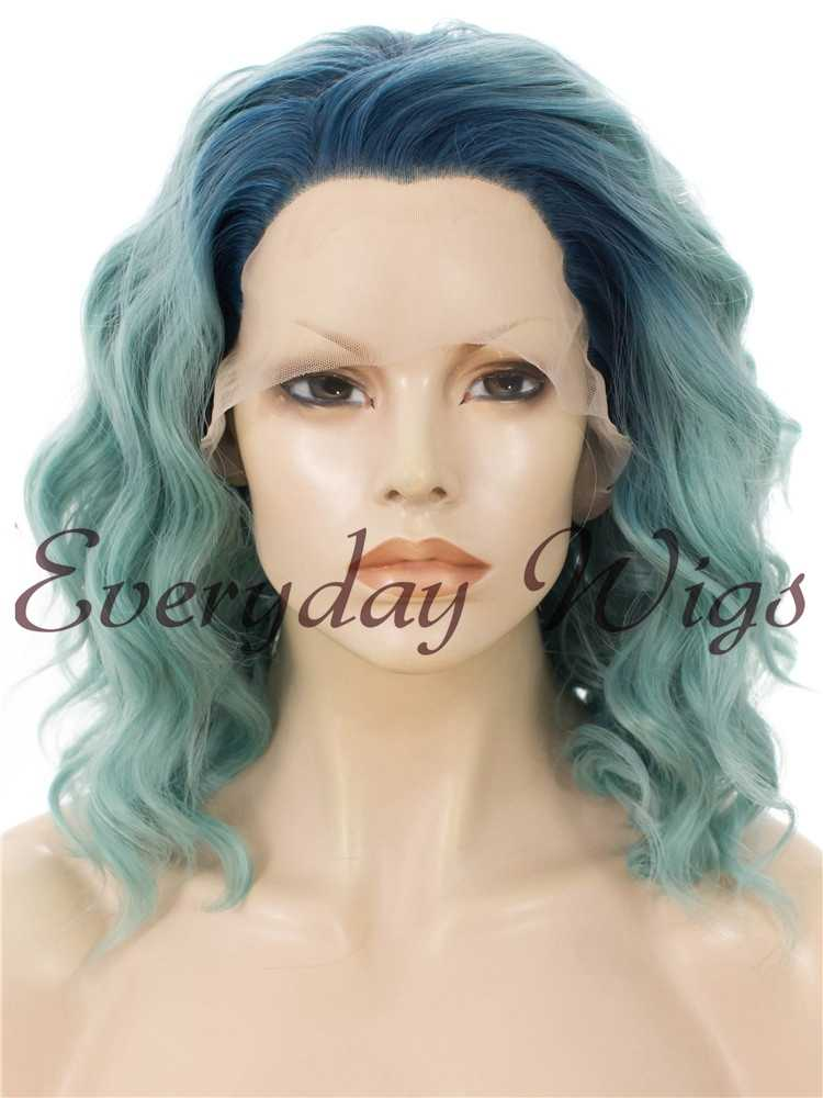 "16"" Black to Grey Ombre wavy Synthetic Lace Front Wig- edw034"