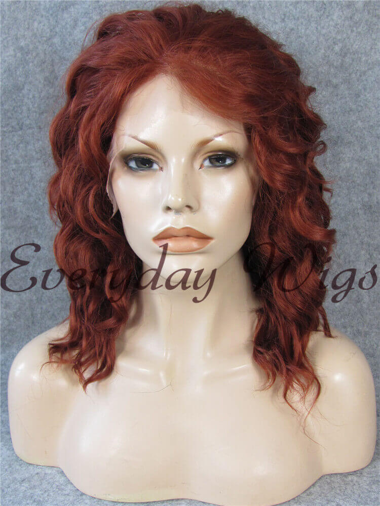 "24"" #33-Dark Auburn Long Straight Synthetic Lace Front Wig - edw035"