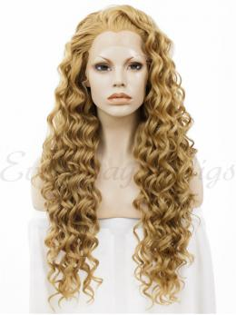 "24""Blonde Curly Synthetic Lace Front Wig -edw036"