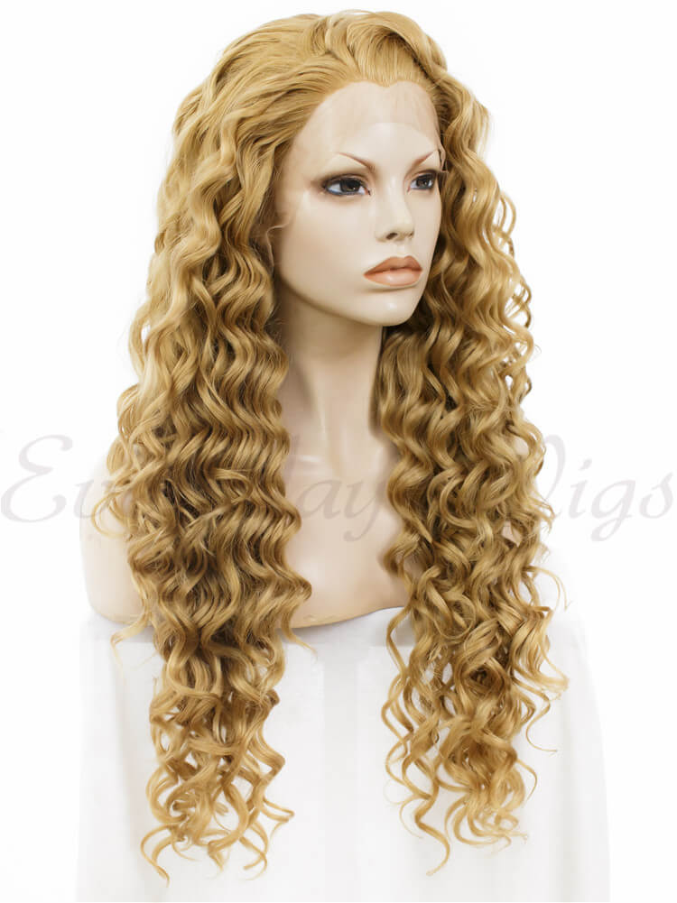 "24"" Black to White Ombre Long wavy Synthetic Lace Front Wig- edw036"