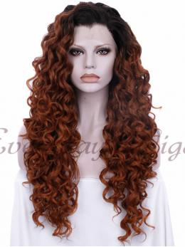 "24""Ombre Brown Curly Synthetic Lace Front Wig -edw037"
