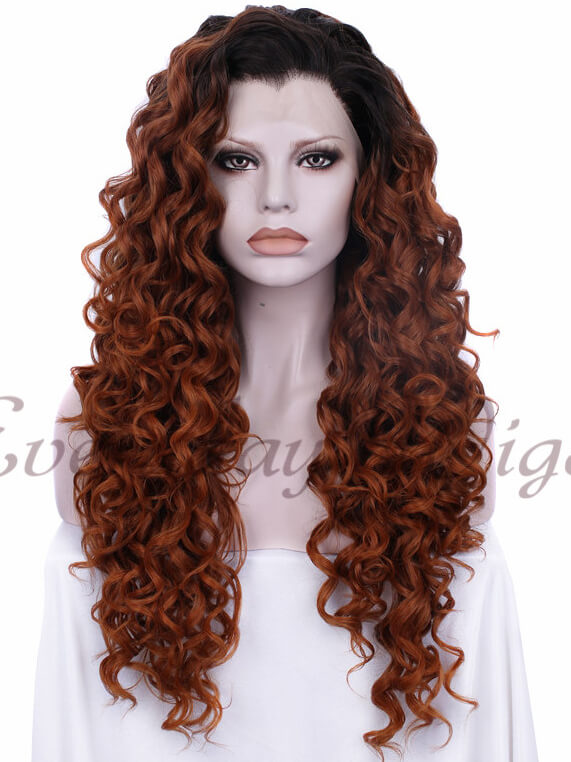 "24"" Pink to Blonde Ombre Long Wavy Synthetic Lace Front Wig- edw037"