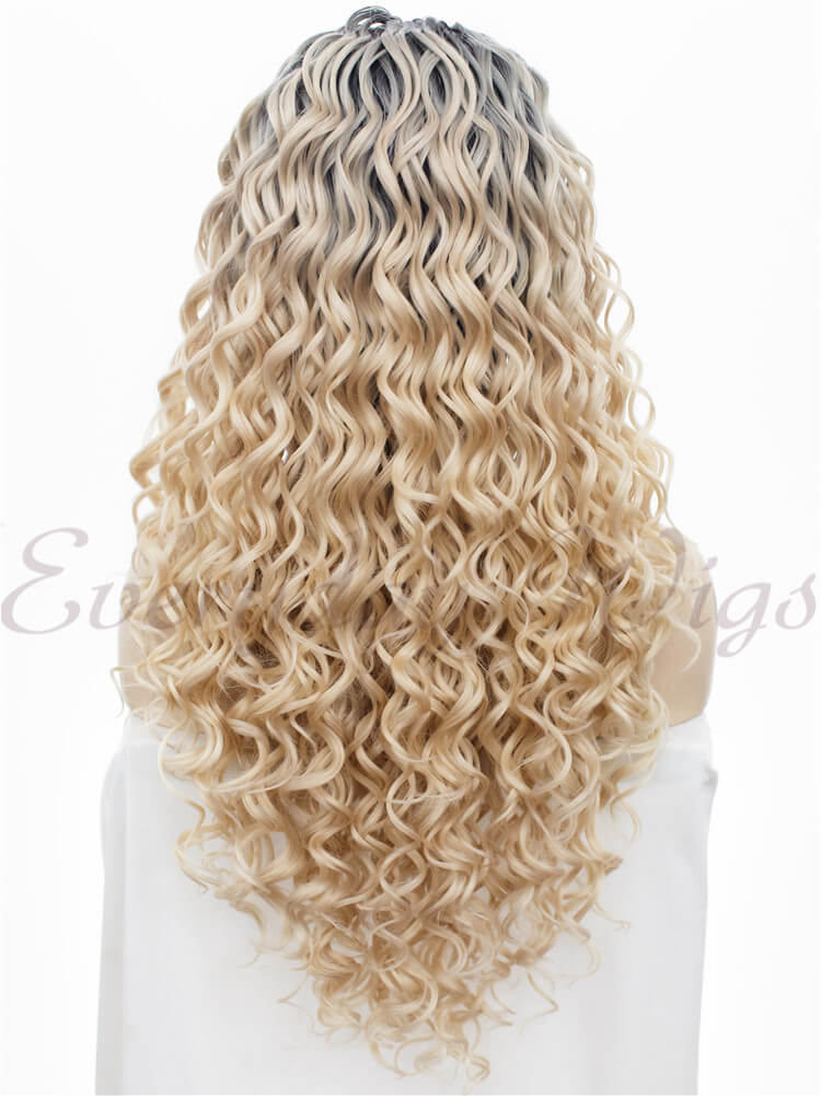 "24""Ombre Blonde Curly Synthetic Lace Front Wig -edw038"