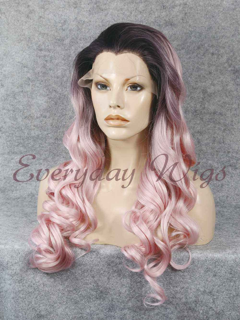 "24"" Black to Pastel Pink Ombre Long wavy Synthetic Lace Front Wig- edw039"