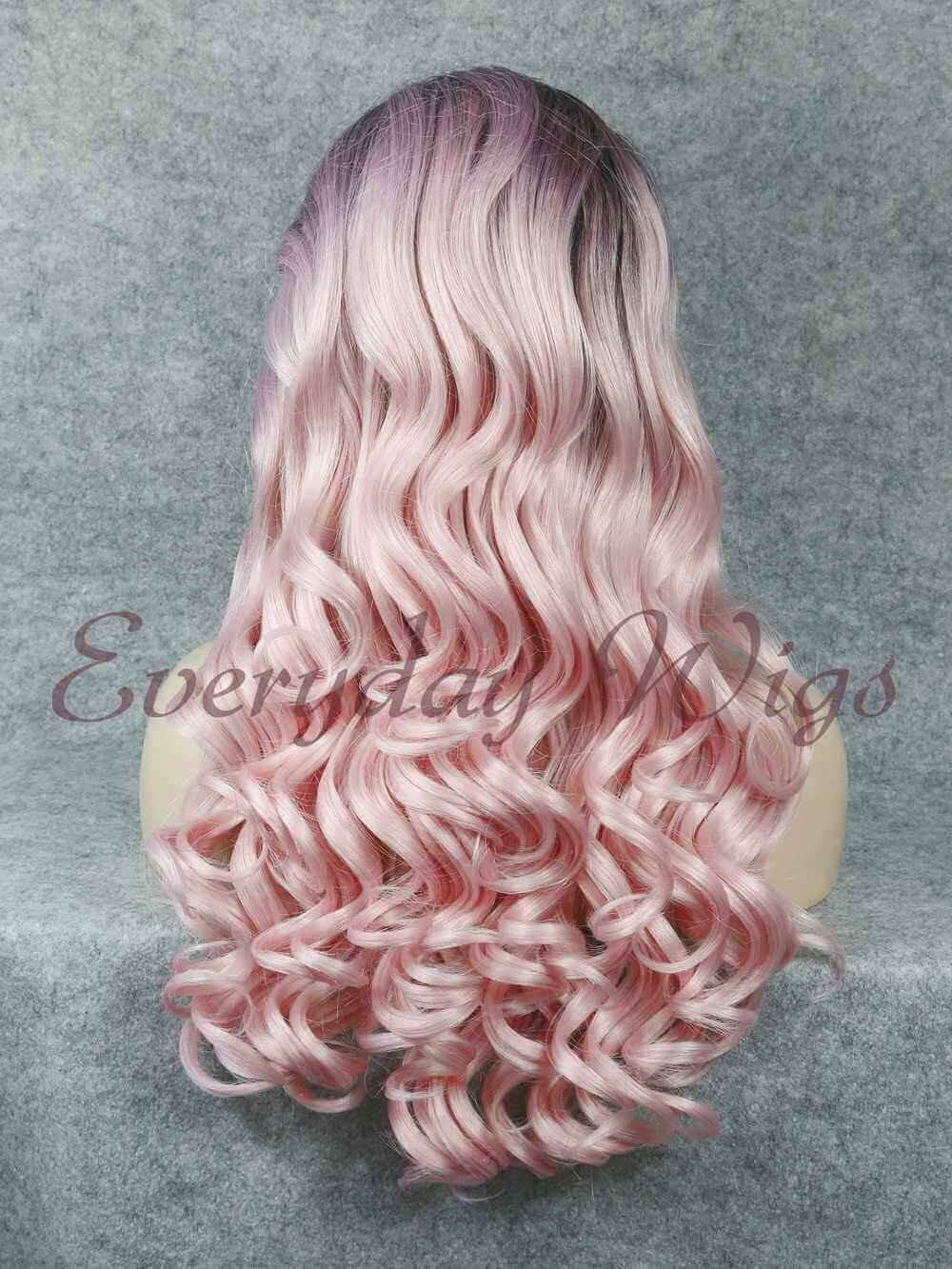 "24"" Black to Pastel Pink Ombre Long wavy Synthetic Wigs- edw039"