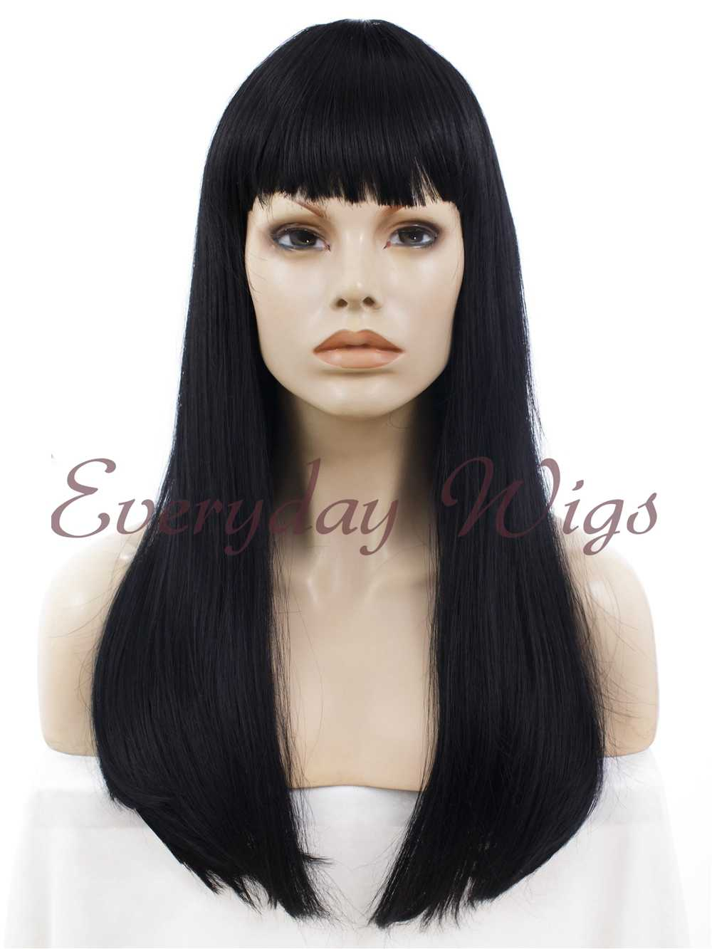 "24"" #613-Platinum Blonde Long Straight Synthetic Lace Front Wig - edw040"