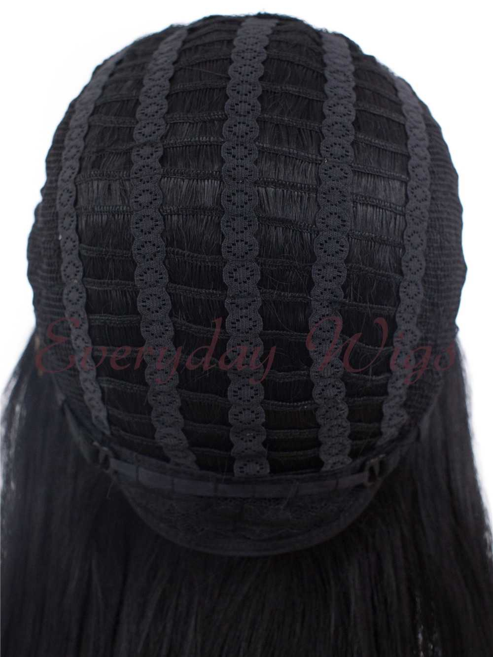"24"" Wefted Cap Black Synthetic Wig with bangs - edw040"
