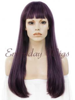 "24"" Wefted Cap Mix Purple Synthetic Wig with bangs - edw041"
