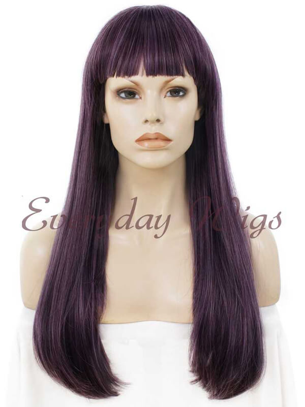 "24"" #613-Platinum Blonde Long Straight Synthetic Lace Front Wig - edw041"