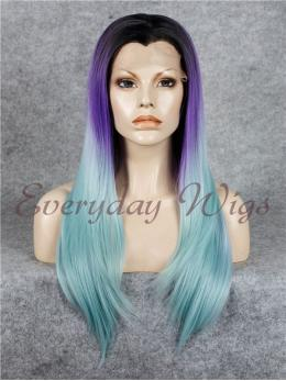 "24"" Ombre purple Long Synthetic Lace Front Wig- edw042"