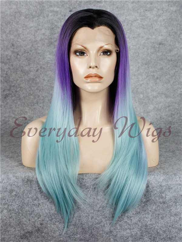 "24"" Purple to Lavender Ombre Long wavy Synthetic Lace Front Wig- edw042"